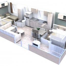Plan virtuel d'un mobil home à Biscarrosse