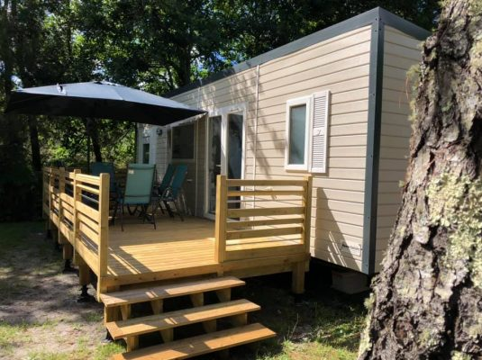 Camping Biscarrosse mobil home avec terrasse 6 personnes